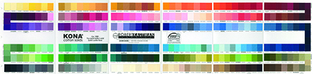 The massive range of Kona solids from Robert Kaufman Fabrics